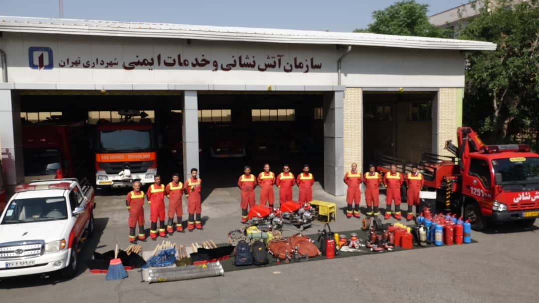 Skilled forest fire fighters in Iran