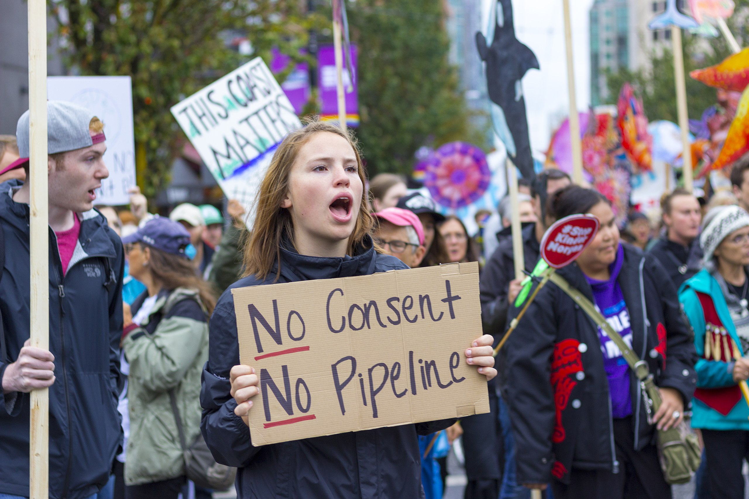 Protesters on Burnaby Mountain in Vancouver, BC, rally against the expansion of the tank farm project, with crude oil pipelines crossing Native Indian owned land through heavily populated ares of the city.  Photo by Wikipedia