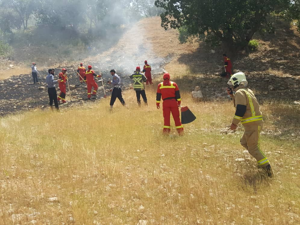 Iranian firefighters putting out a grassfire