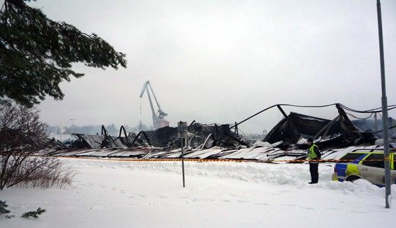 The remains after the fire at Dalbo Boats
