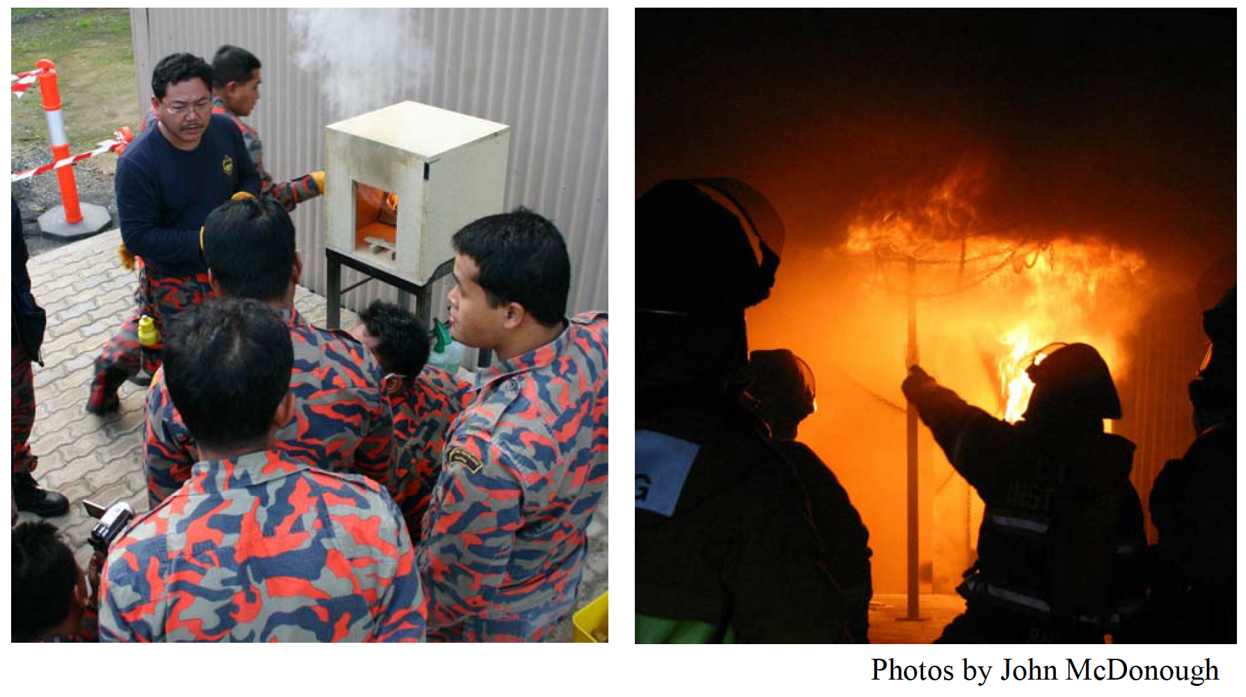 Ed Hartin (USA) and Nils Bergström (Sweden) deliver CBFT to a group of Malaysian fire officers attending training.
