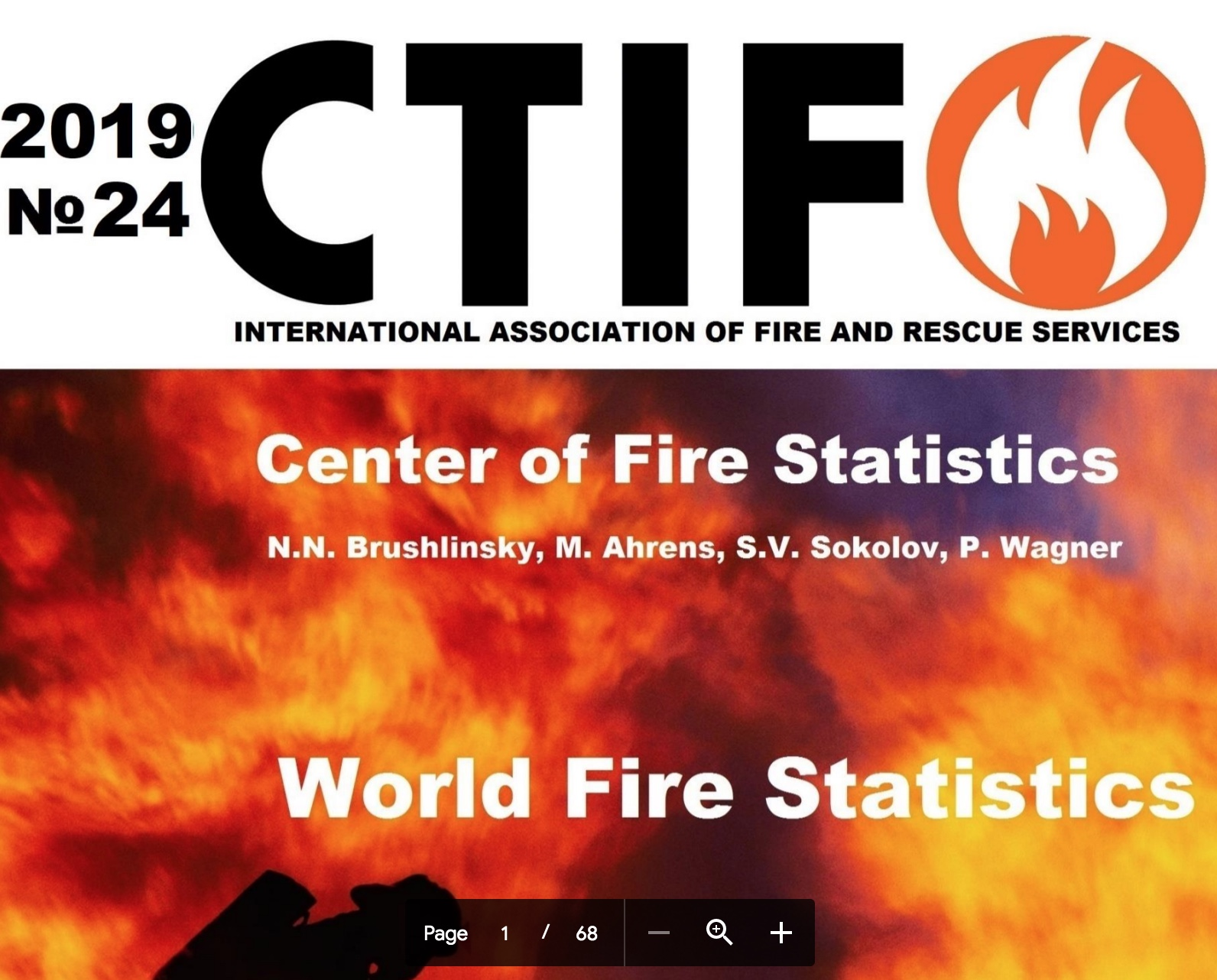 Header for the CTIF World Fire Statistics publication no 24 in Persian