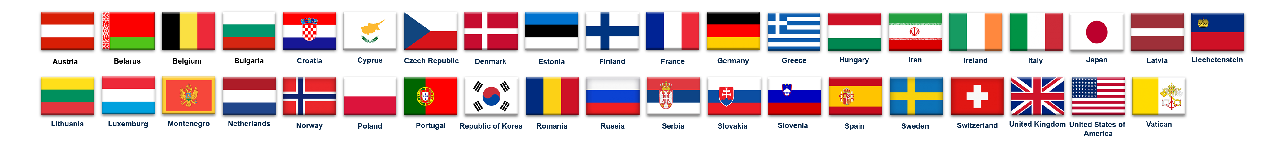 Flags CTIF member countries as of spring 2019