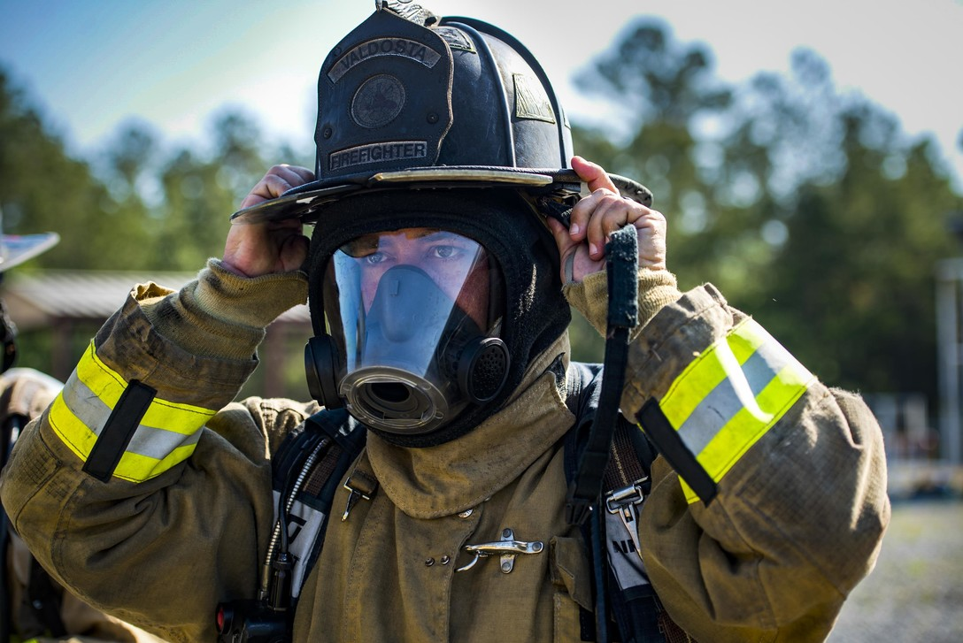 Firefighter in mask