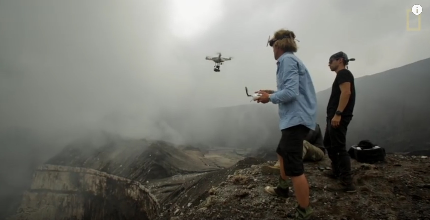 Drone taking off into the the volcano.