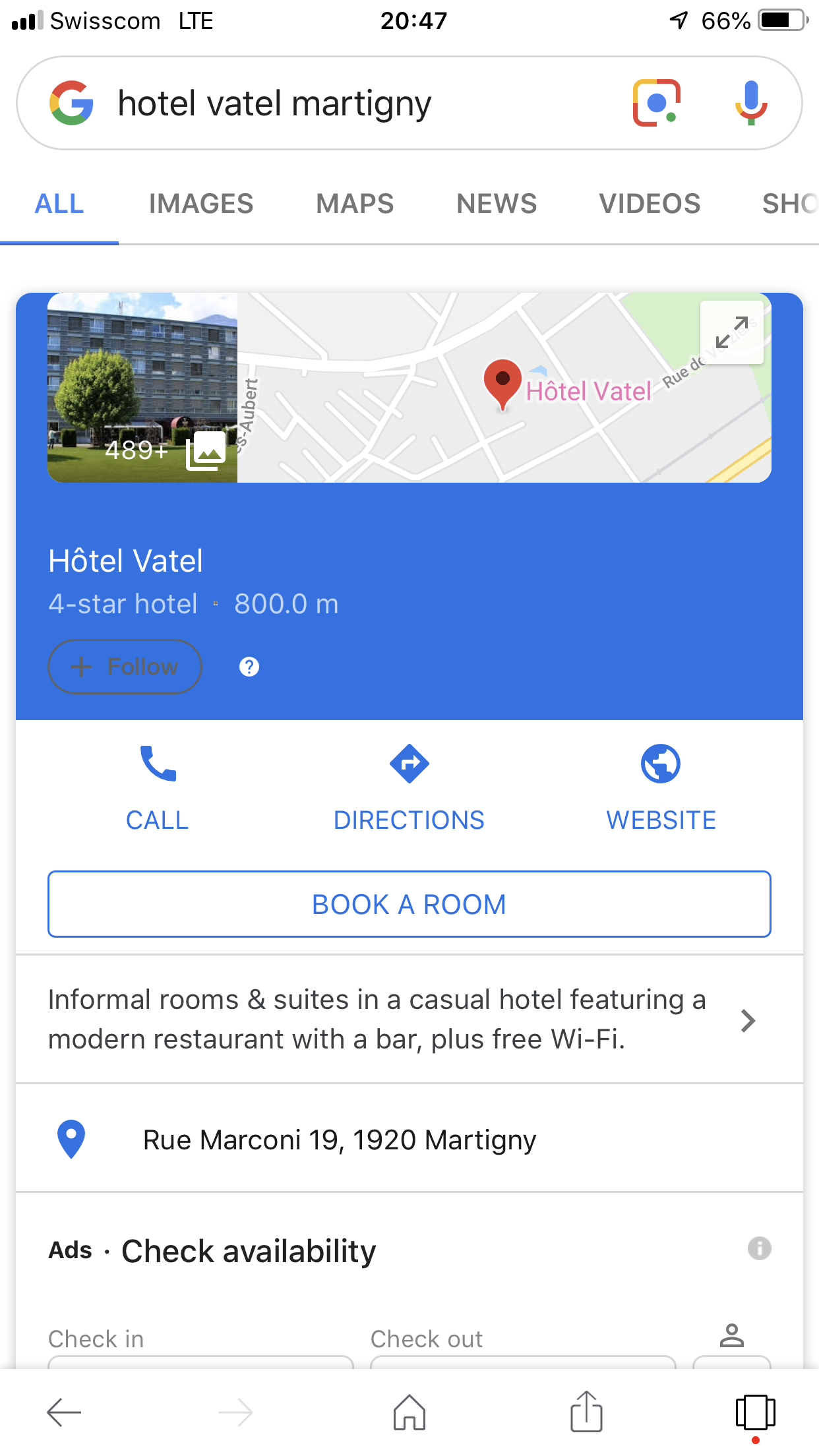 The map and address of Hotel Vatel