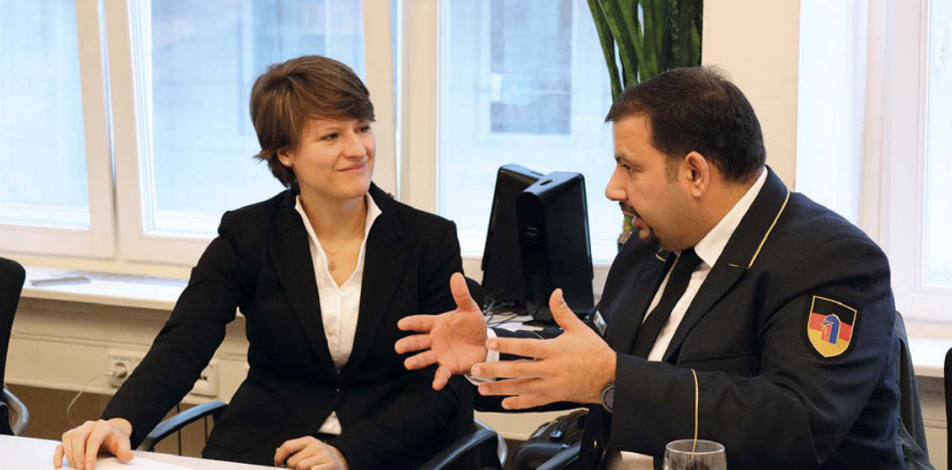 Christina Koss at the German Ministry of Interor NRW and Orhan Bekyigit DFV, talk Diversity and Integration within the German fire services.