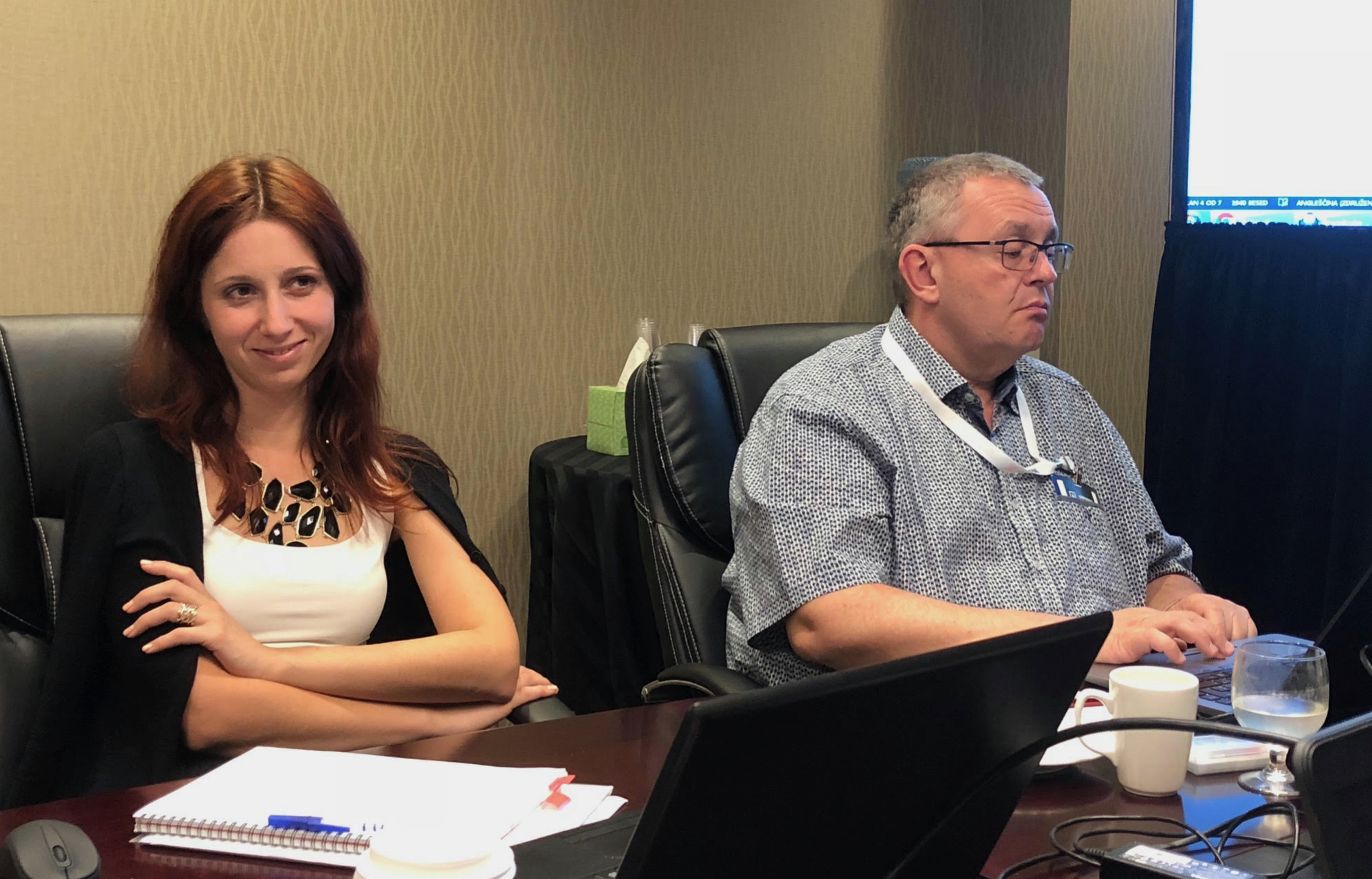 CTIF Secretary Neza Strmoli and CTIF Treasurer Marc Mamer at the Executive Committee Meeting in Las Vegas 2018.