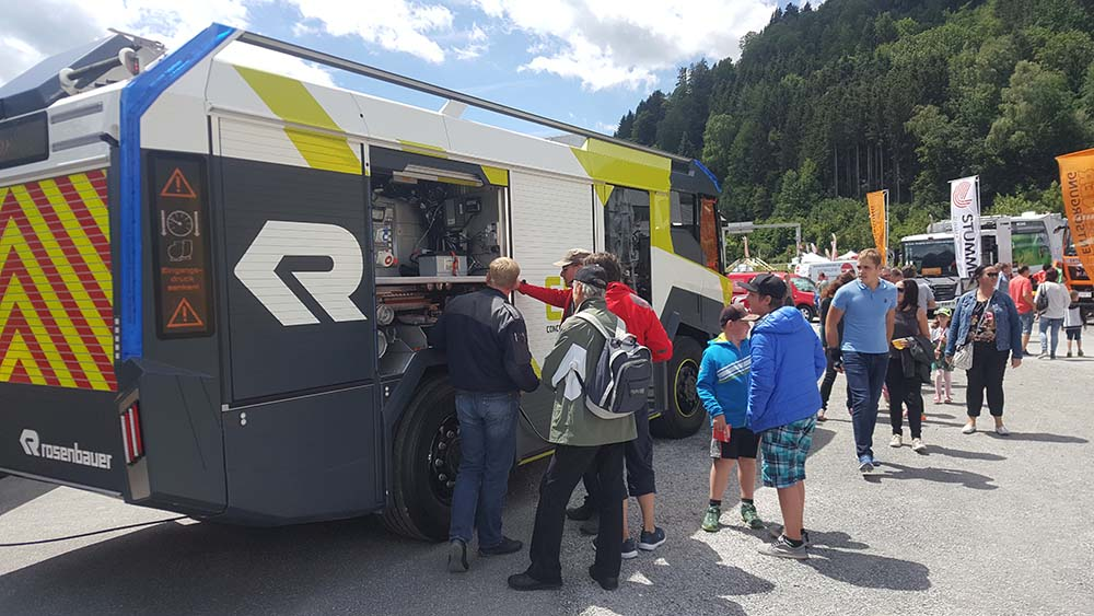 People viewing the electric Concept Fire Truck by Rosenbauer.