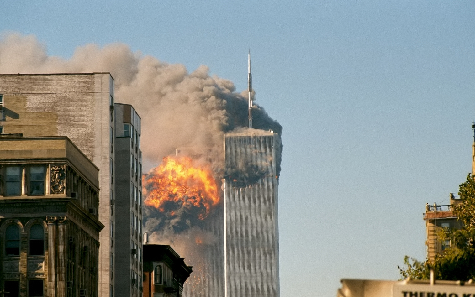 UA Flight 175 hits the WTC south tower. Photo: Wikipedia