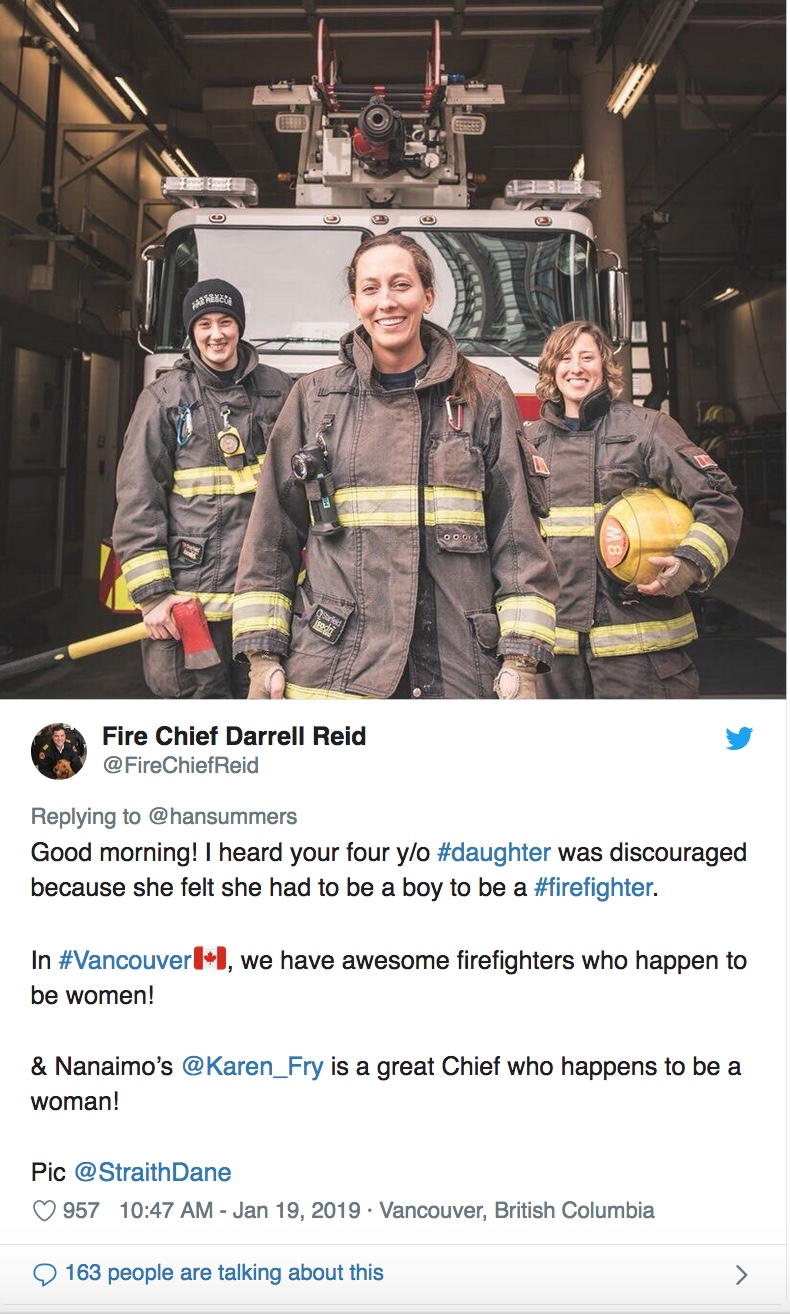 Women firefighters at Vancouver fire station