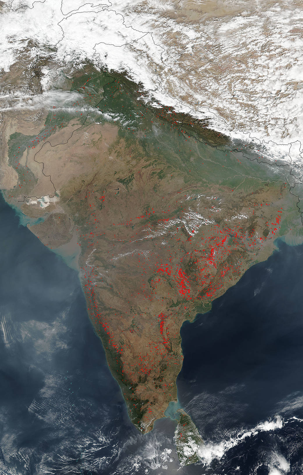 "Vegetation fires in India are commonplace.  Farmers use the method of ""slash and burn"" agriculture (setting fires) to rid the overgrown fields of grass and detritus from the last growing season in order to ready the land for a new growing season.  This is a practice that has been going on for centuries in this part of the world.  The area uses this type of field clearing starting in October and going through June with the peak coming in March.  The Suomi NPP satellite captured this natural-color image using the VIIRS (Visible Infrared Imaging Radiometer Suite) instrument onboard of the fires across India on March 02, 2018.    Actively burning areas, detected by VIIRS, are outlined in red. NASA image courtesy Jeff Schmaltz LANCE/EOSDIS MODIS Rapid Response Team, GSFC. Caption by Lynn Jenner"