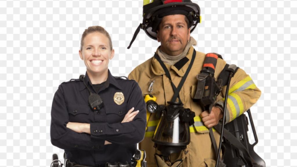 Male and female firefighter