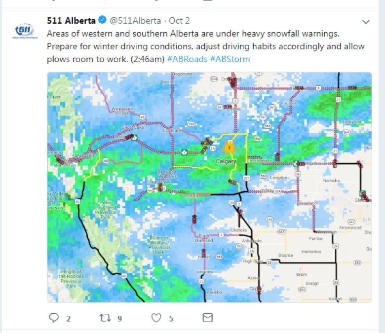 A tweet with a map of the effected area from the Alberta road information agency 511.