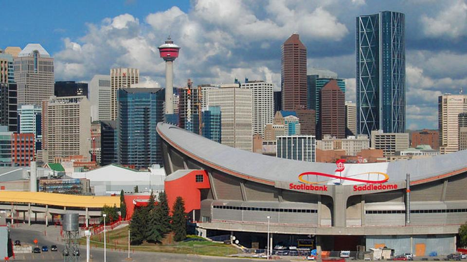 Calgary skyline and Scotiabank Saddledome