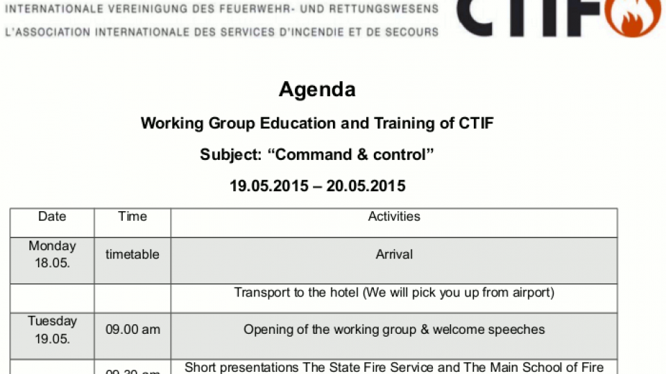 "Working Group Education and Training of CTIF Meeting: ""Command & control"""