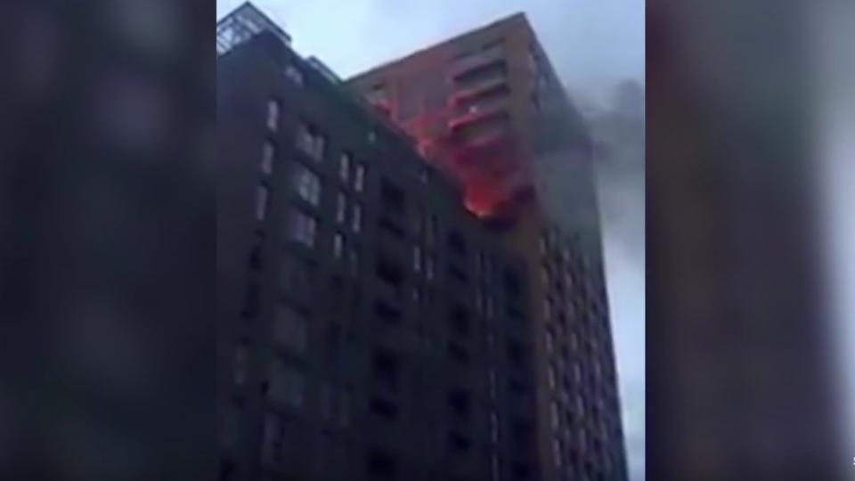 Fire in London on the anniversary of Grenfell