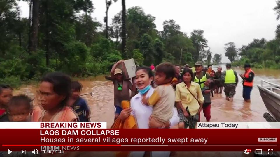 Laos dam collapse BBC screen shot