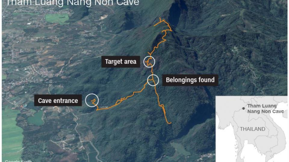 A map of the Thain cave system where the boys got lost.