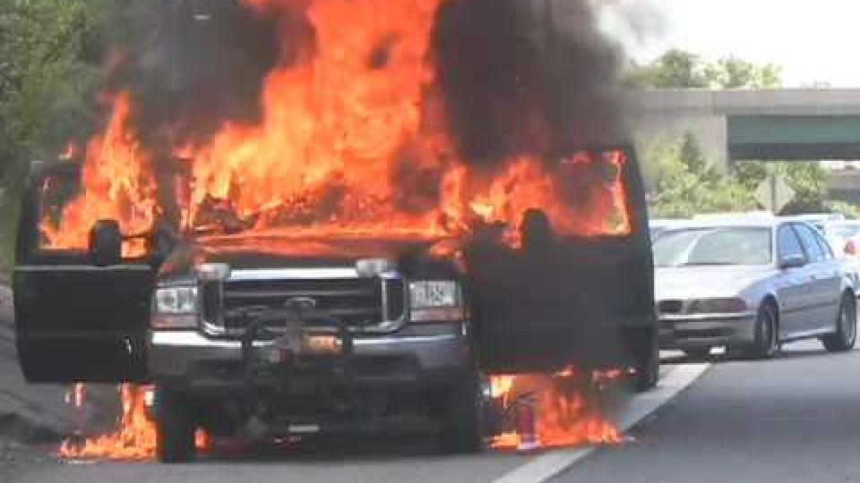 Ford Pickup on Fire