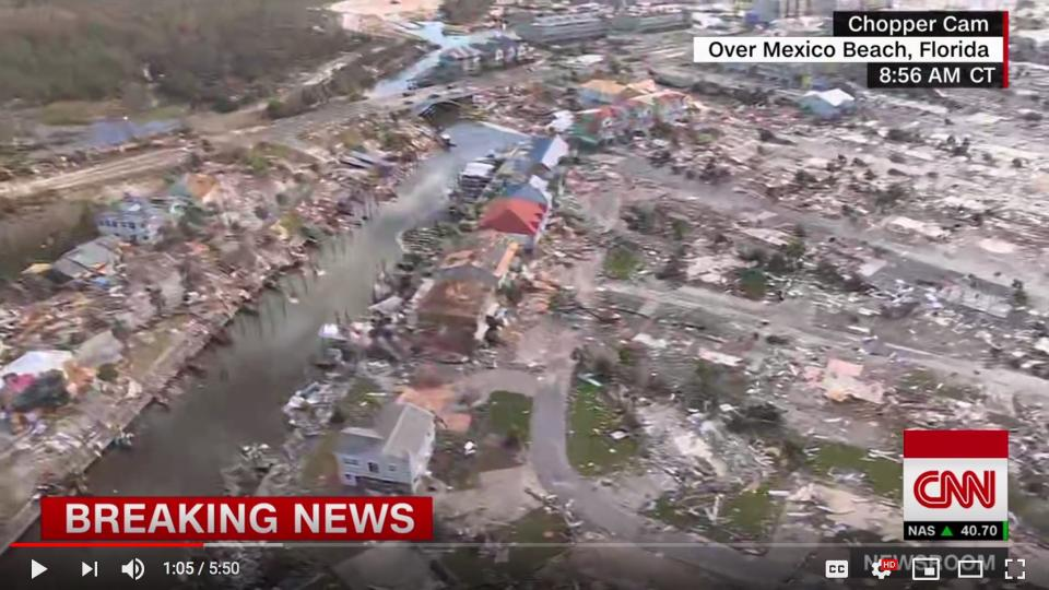 The destruction after Hurricane Michael seen from a helicopter. Screen shot from CNN video on Youtube.