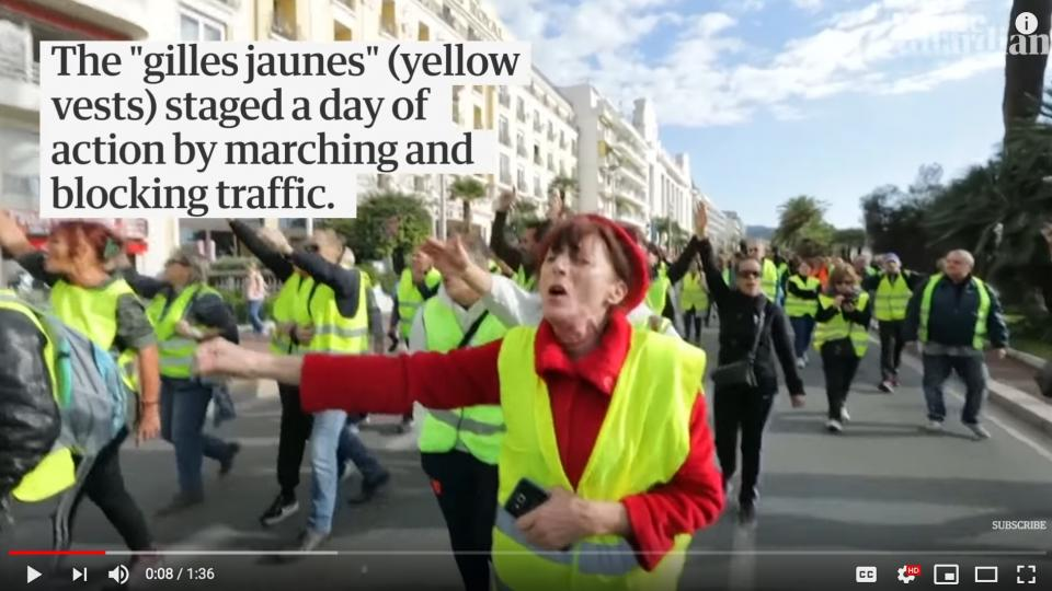 Demonstrations against fuel prices in France. Photo: Screen shot form The Guardians news clip video.