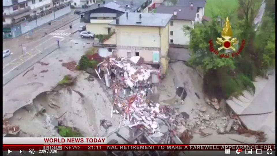 A street has collapsed in Italy. Photo: Screen shot from the BBC video clip