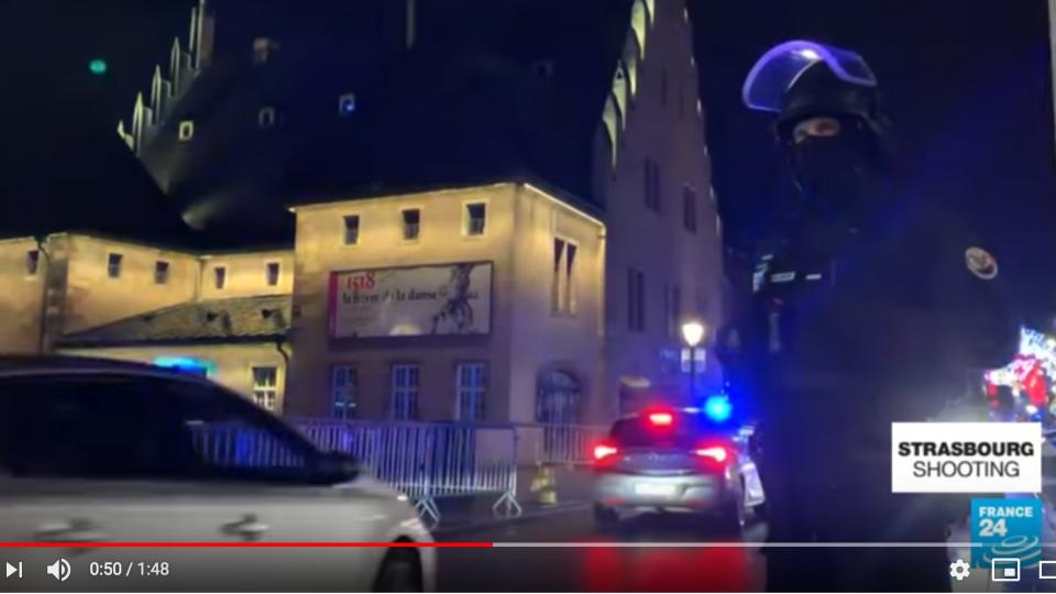Strasbourg terrorist shooting. Screen shot from France 24 English.