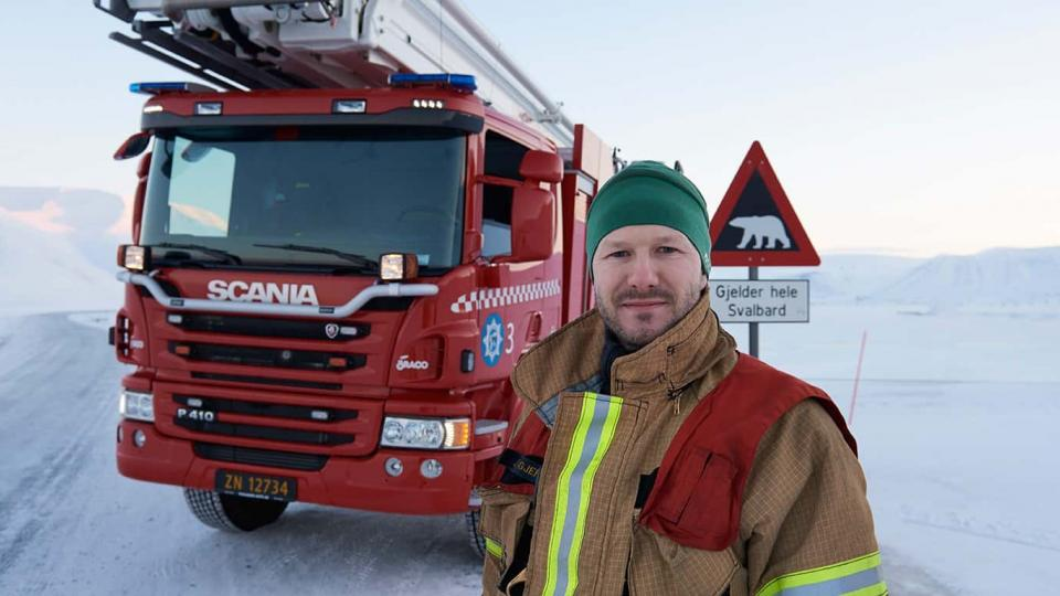 Jann-Egil Gjerde is Deputy Brigade Chief in the world´s most northern fire service. Photo: Scania