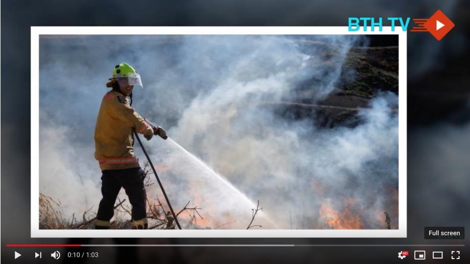New Zeeland bushfire. Screenshot from BTH TV YouTube report.