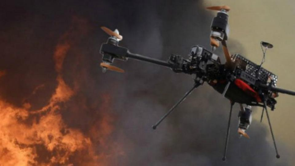 Iranian fire fighting drone in the air