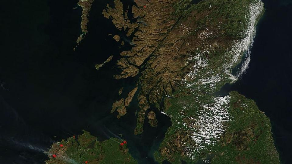 England, Scotland and northern Ireland Dry weather conditions sparked fires to burn in parts of England, Scotland and northern Ireland as seen (as red dots) in this image, taken by the Moderate Resolution Imaging Spectroradiometer (MODIS) on NASA's Aqua satellite. The image shows conditions on May 2, 2011 at 11:50 UTC (7:50 a.m. EDT). Photo: NASA
