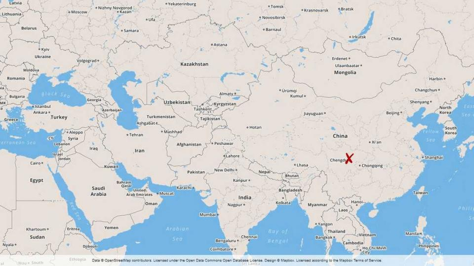 Map of the eastern part of the world with China and the province where at least 26 firefighters have perished.