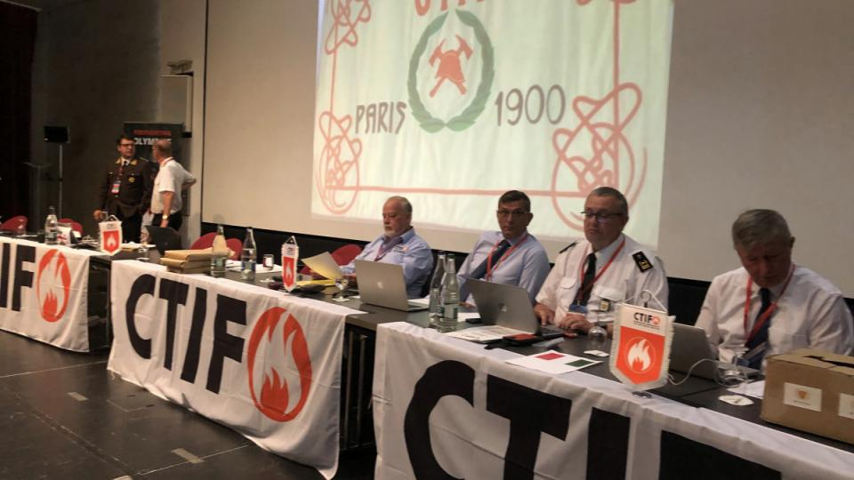 The Opening of DA 2019 in Martigny with the original CTIF banner from the year 1900.