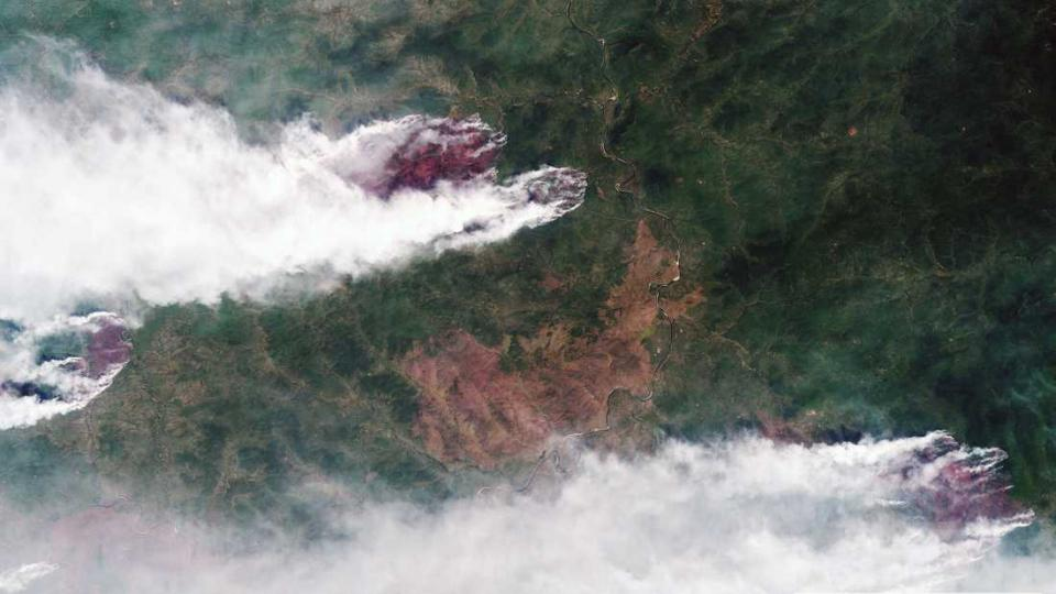 PHOTO: ROSCOSMOS  A satellite image from the Russian space agency Roscosmos shows the forest fires in Siberian Krasnoyarsk on July