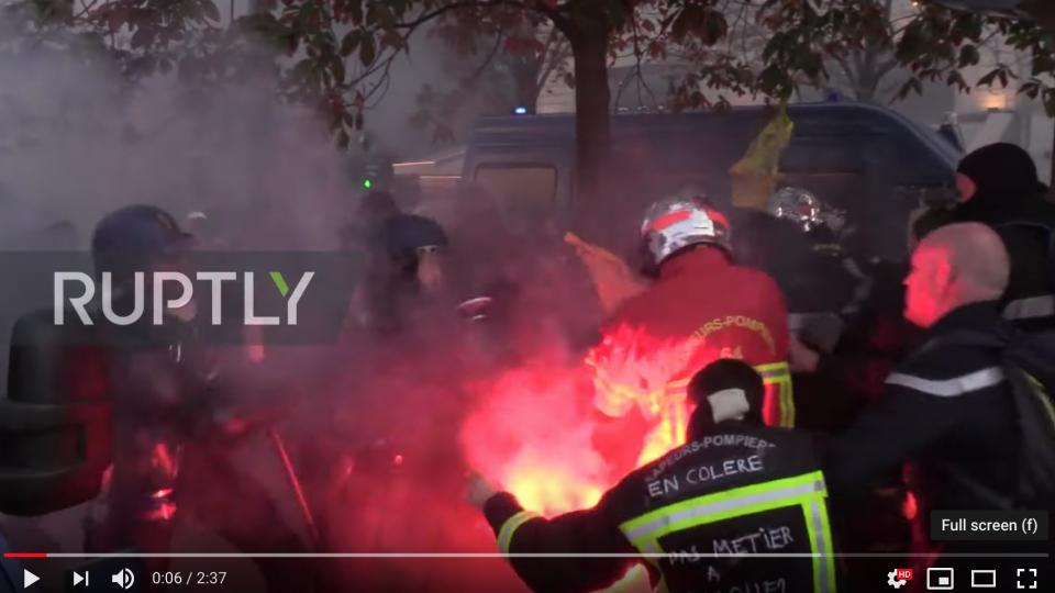 A screen shot of a Ruptly video on YouTube of the violent demonstrations on Tuesday.