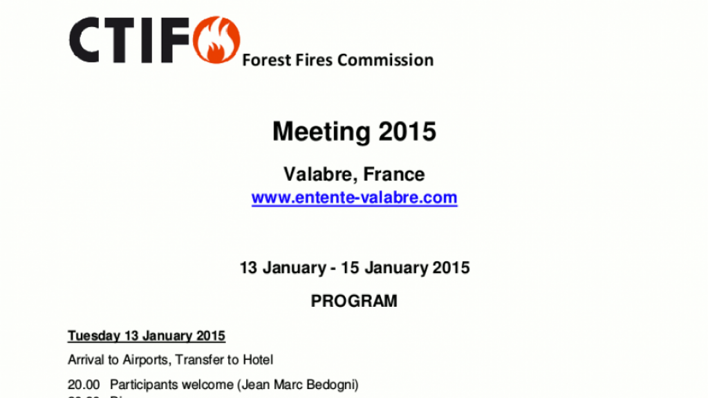 CTIF Forest fires Commission Meeting