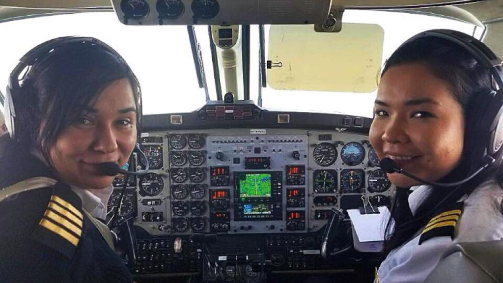 Captain Robyn Shlachetla First Officer Raven Beardy, of Manitoba, Canada, as the first female first female Indigenous Medivac Air Ambulance team.