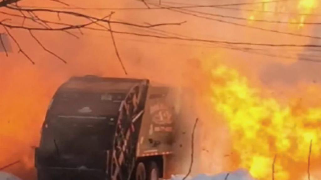New Jersey Garbage truck explosion