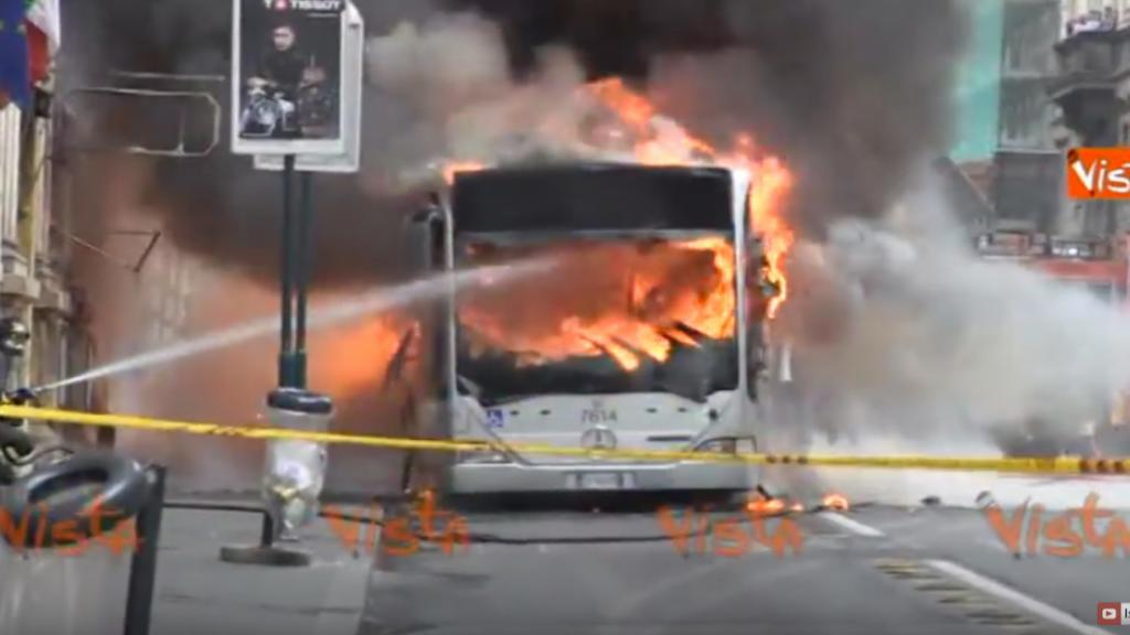 Bus on fire in Rome, Italy