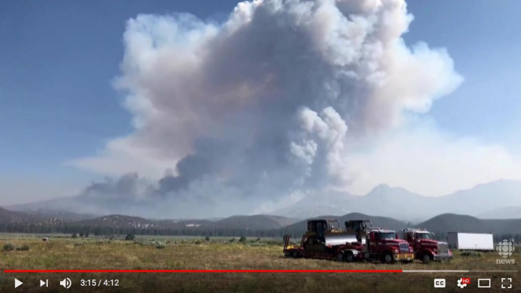 Screen shot of the CBC video showing how the Carr fire is developing a new weather system.