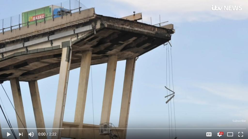 The Morandi Bridge in genua, after the collapse. Screen shot from the video below.