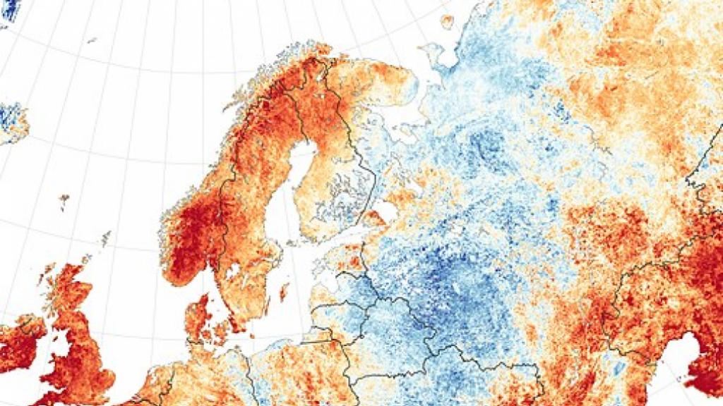 Temperature anomalies in Sweden and parts of Northern Europe summer 2018. Photo: Wikipedia