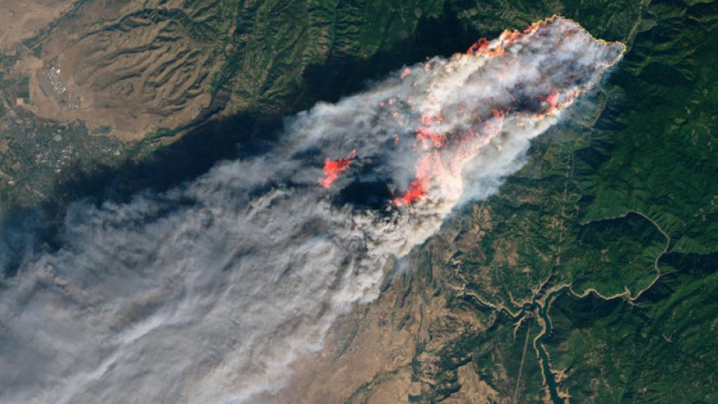 The Operational Land Imager aboard the NASA-USGS Landsat 8 satellite captured this image of California's Camp Fire on Nov. 8, 2018, around 10:45 a.m. local time (1845 GMT). Credit: NASA Earth Observatory image by Joshua Stevens, using Landsat data from USGS