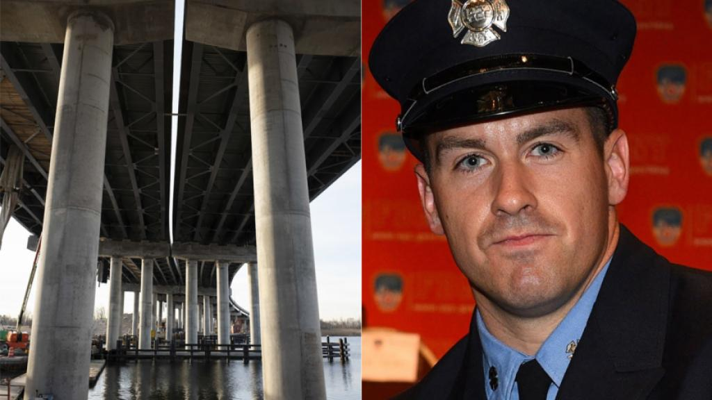 A New York firefighter fell över 100 meters form a bridge in construction by stepping in between an unmarked gap between the lanes. Photo: FDNY