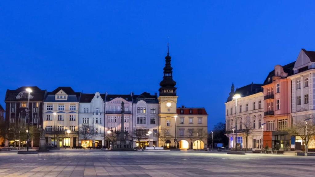 Ostrava Old Town Square by night.