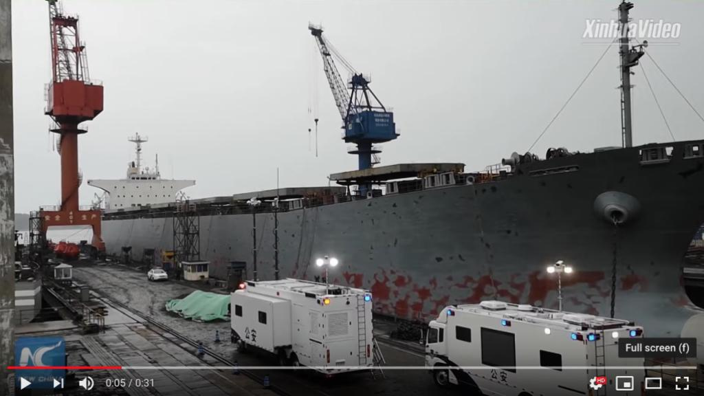 The ship was being repaired when the CO2 leak occurred that killed 10 people in China on Saturday.