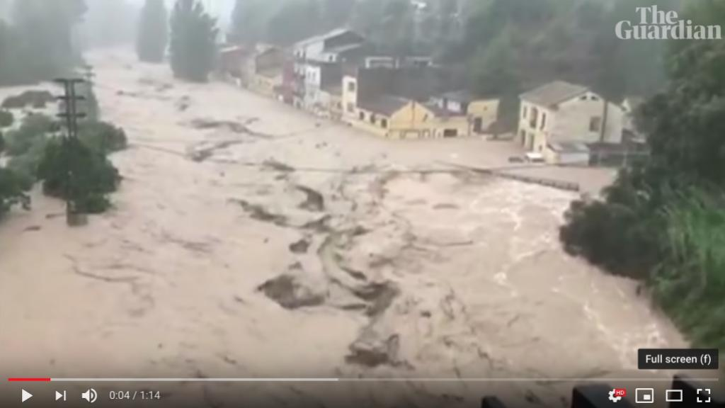 The floods in Spain during the second week of September 2019. Screen dump form The Guardian Youtube video report.