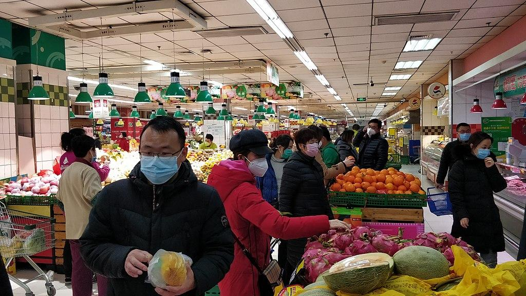 People wearing mask in Yanshan InZone 20190129. Wikipedia Commons License.