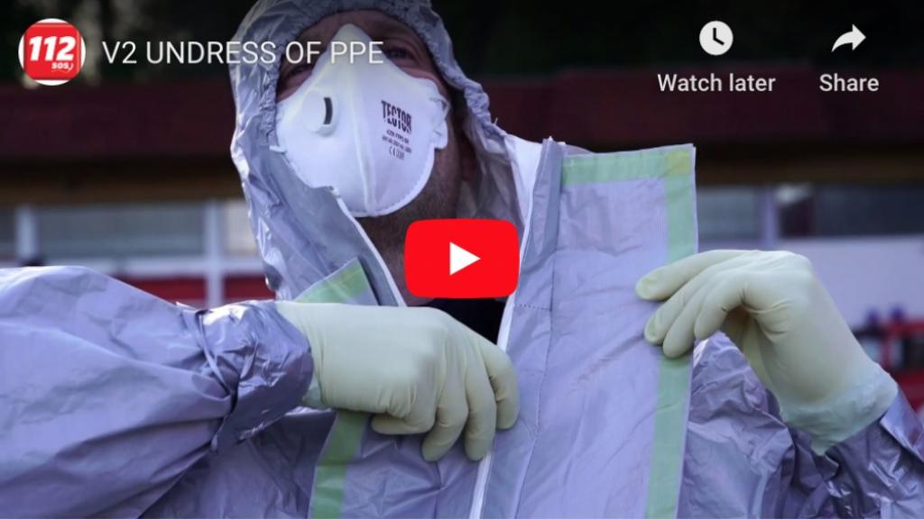 A Slovenian EMS-worker undressing his hazmat PPE. Screenshot from an instructional video by the Slovenian Fire Academy.